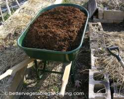 Photo of hardwood bark mulch in wheelbarrow