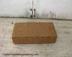 Photo of compressed brick of coconut coir
